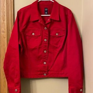 Sz EXTRA LARGE GAP Candy Apple red denim jacket